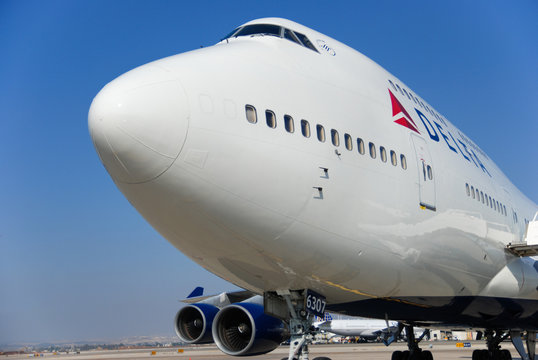 BEN-GURION AIRPORT, ISRAEL - JULY 20, 2010: Boeing 747 of Delta Airlines at Ben-Gurion Airport. Israel