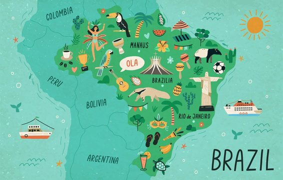 Brazil map hand drawn vector illustration. South America country cultural symbols, tourist attractions. Fauna and flora, national landmarks and travel destinations. Brazil creative educational poster.