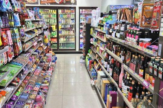 KENTING, TAIWAN - NOVEMBER 26, 2018: Food and beverage selection at a convenience store in Keelung, Taiwan.