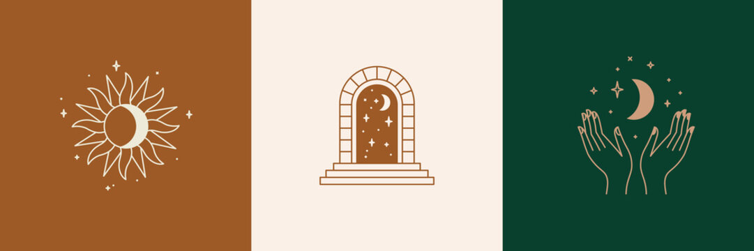 Door and key - vector abstract logo and branding design templates in trendy linear minimal style, emblem for home accessories and interior shop, small hotel and apartments
