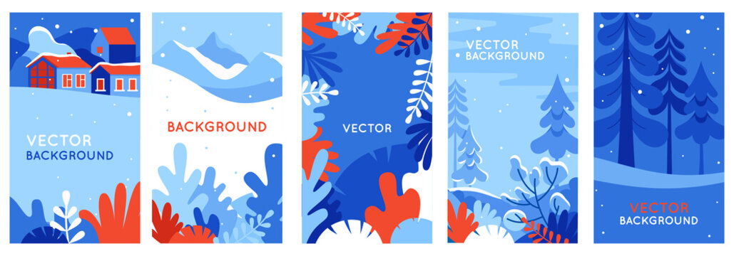 Winter landscapes - vertical banners and wallpaper for social media stories