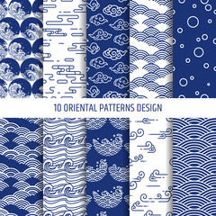 oriental patterns illustration vector set