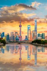 Foto auf AluDibond Shanghai Architectural landscape and city skyline in Shanghai