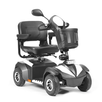 Black & White Four Wheel Mobility Scooter with Front Basket Isolated on White Background. Modern Mobility Aid Vehicle. Personal Transport Side View. Electric Wheelchair with Step Through Frame (2)