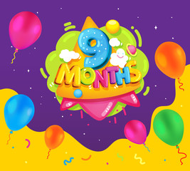 Papiers peints Sous-marin Nine months baby poster. Vector color illustration for kids