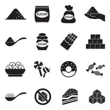 Sugar Icons. Black Flat Design. Vector Illustration.