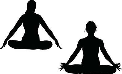 One lady is sitting in a comfortable Asana with raised arms, crossed legs' lotus pose and makes Mrigi Mudra, another woman is doing Jalandhara Bandha