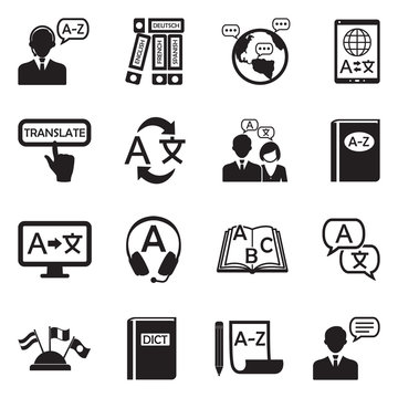 Translation And Dictionary Icons. Black Flat Design. Vector Illustration.