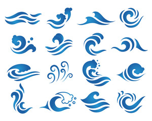 Wave water logo design template.
