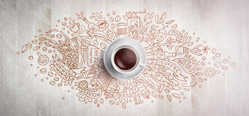 Coffee concept on wooden background - white coffee cup, top view with doodle illustration about coffee, beans, morning, espresso in cafe, breakfast. Morning coffee illustration. Hand draw and coffee