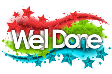 well done word in stars colored background