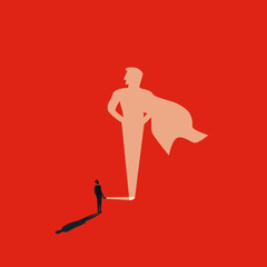 Business superhero vector concept with businessman and flashlight. Symbol of ambition, motivation and inspiration.