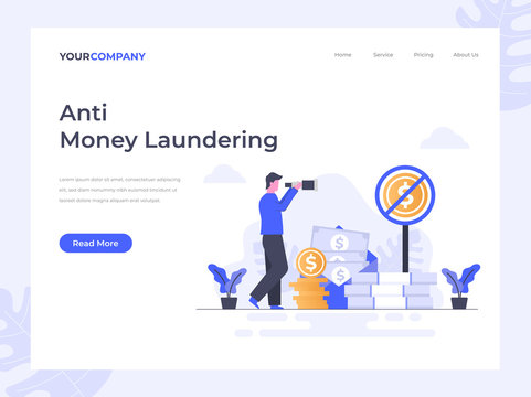 Anti Money Laundering flat vector illustration concept, can be used for landing page, ui, web, app intro card, editorial, flyer, and banner.