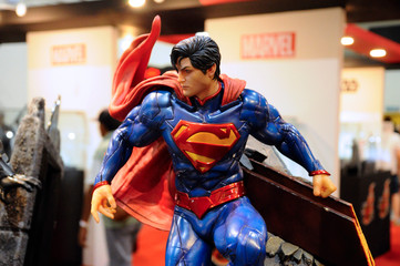 KUALA LUMPUR, MALAYSIA -MARCH 24, 2017: Fiction character of SUPERMAN from DC movies and comic. SUPERMAN action figure toys in various size display for the public.