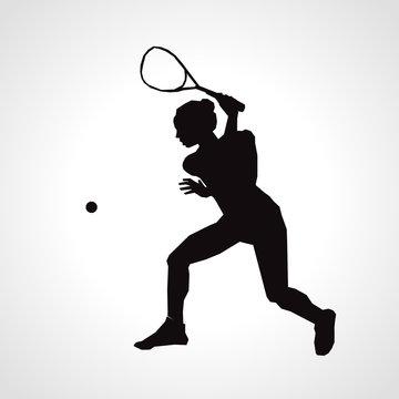 Female squash vector silhouette. Squash player hits the ball