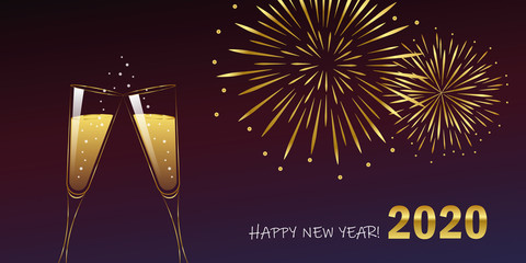 happy new year celebration fireworks and champagne 2020 vector illustration EPS10