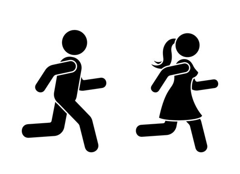 Stick figure man and woman running icon vector pictogram. Boy and girl competition sign silhouette on white background