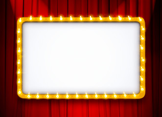 light sign with gold frame on red theatre or cinema curtain