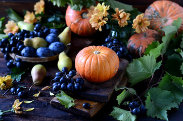 Autumn still life: pumpkins, grapes, pears on a dark background