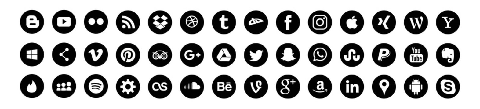 Set of popular social media logos: Instagram, Facebook, Twitter, Youtube, WhatsApp, LinkedIn, Pinterest, Blogger and others