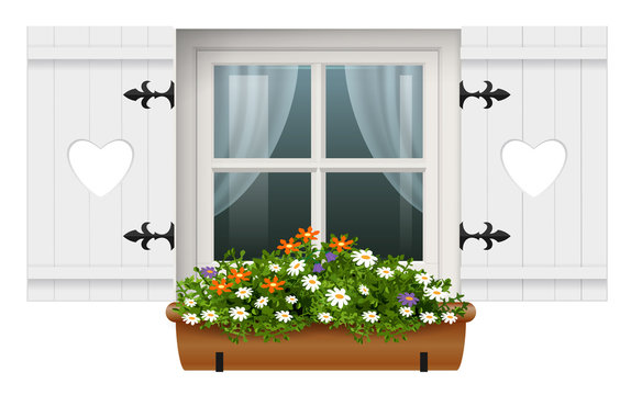 Vintage wooden window shutters flower pot