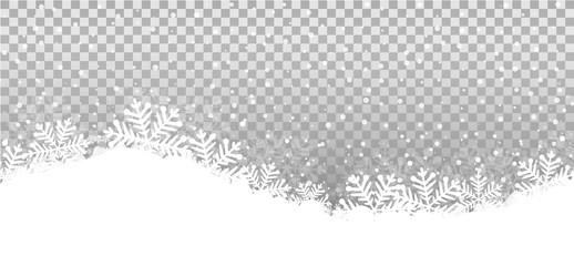 Wall Mural - Tranparent Hintergrund Winterlandschaft Schneeflocken Isoliert Vektor Illustration
