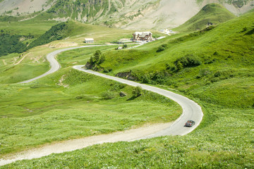 Col du Galibier France - pass with convertible car on the winding road, France