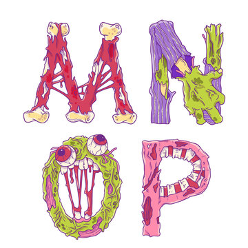 Scary zobmie cartoon letters M, N, O, P for Halloween decor