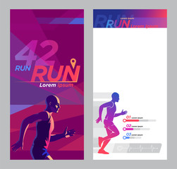Runner marathon design blank_Advertising flyer set