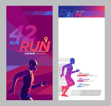 Runner marathon design blank_Advertising flyer set