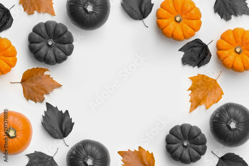A contemporary Autumn harvest and halloween frame background with pumpkins and leaves.