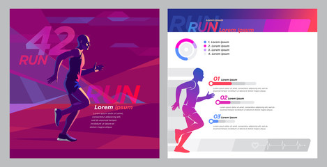 Runner marathon design blank_Square booklet set
