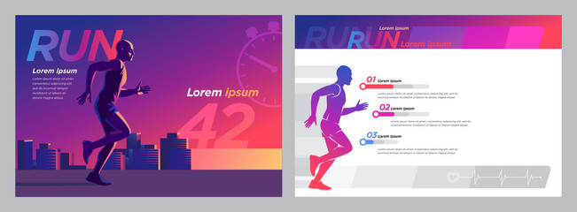 Runner marathon design blank_Presentation Set