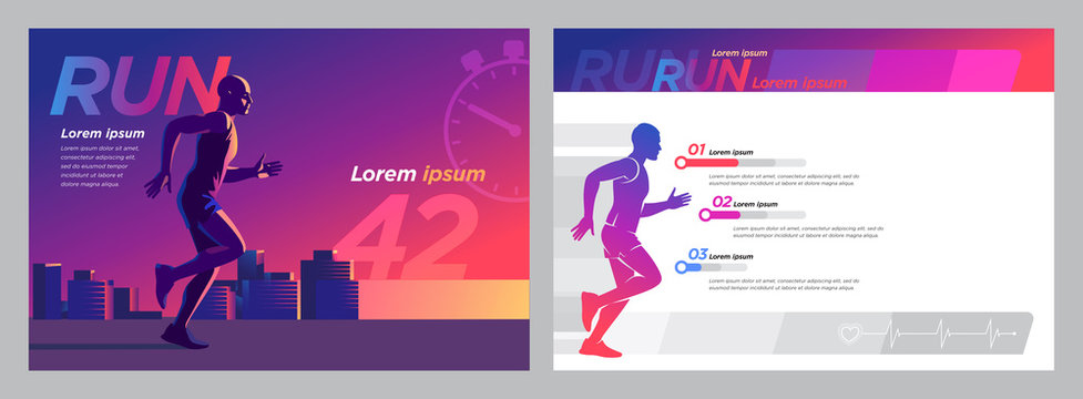 Vector image silhouette of a runner on the background of the evening city marathon template set