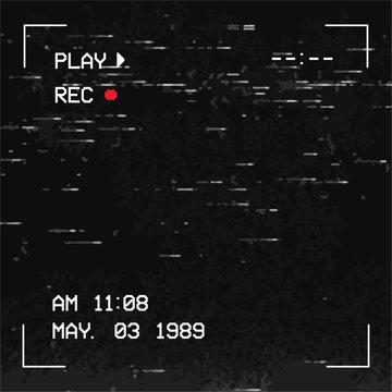 Square Glitch camera effect. Social Media Post. Retro VHS background. Old video template. No signal. Tape rewind. Vector illustration. - Vector - Vector