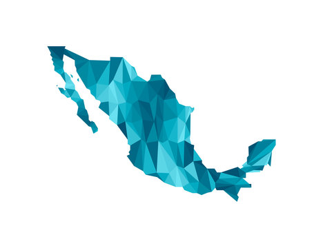 Vector isolated illustration icon with simplified blue silhouette of Mexico map. Polygonal geometric style, triangular shapes. White background