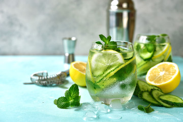 Cucumber and lemon refreshing drink with mint.