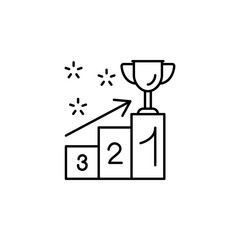 Pedestal, winner cup, arrow, steps icon. Simple line, outline vector of winning
