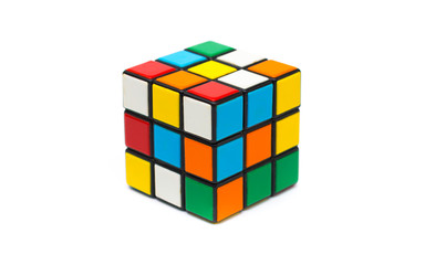 Rubiks cube on a white background