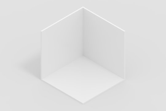 Minimal isometric perspective background blank room and box