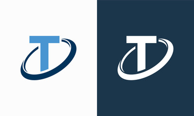 Simple Shield Letter T logo designs, T initial Shield Planet Circle logo symbol icon template