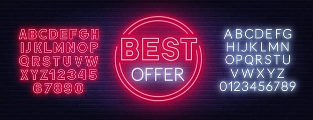 Fototapete - Best offer neon sign on dark background. Template for design with fonts. Vector illustration.