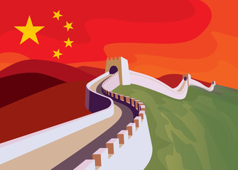 The great Wall of China with chinese flag in the sky. China politics illustration concept.