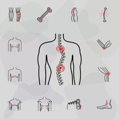 scoliosis, spine, pain icon. Universal set of plastic surgery, epilation for website design and development, app development