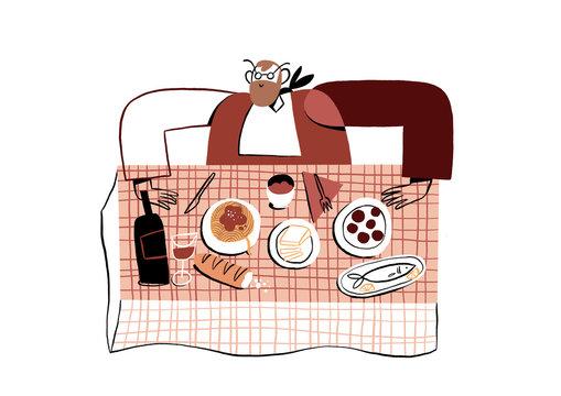 Illustration of man eating dinner