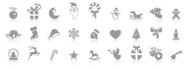 Wall Mural - collection christmas icons with reflection