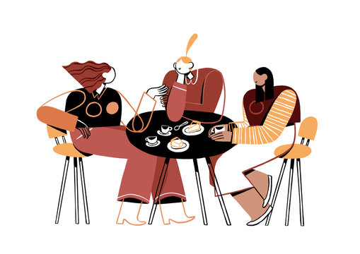Illustration of women gossiping at table