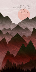 Canvas Prints Bordeaux Mountain landscape illustration, with setting sun and layered mist in valley.