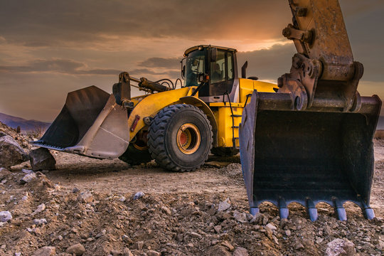 Excavators working on a construction site