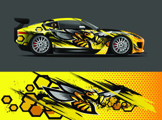 car wrap design with animal and abstract background for racing, livery, and daily use